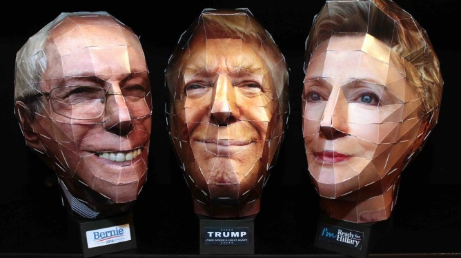 Paper head puzzles of Presidential candidates Hillary Clinton, Donald Trump and Bernie Sanders on display at the Wiz Head booth during the 2016 New York City Toy Fair, inside the Jacob Javits Center, 34th street and 11th Avenue in New York City on February 14, 2016. The pre-cut card stock pieces hep form a 3-D head.   Pictured: General view, GV Ref: SPL1227918  140216   Picture by: Andrew Schwartz/Splash News  Splash News and Pictures Los Angeles:	310-821-2666 New York:	212-619-2666 London:	870-934-2666 photodesk@splashnews.com