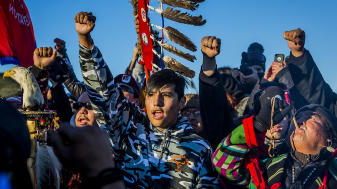December 4, 2016 - Cannonball, North Dakota, United States - The Showdown at Standing Rock is a win for Native Tribes. The U.S. Army Corps of Engineers turned down a key permit for a the Dakota Access Pipeline that was slated to drill beneath the Missouri River and through sacred Sioux grounds. Many consider this a historic victory for Native Americans and climate activists who have protested the project for months.