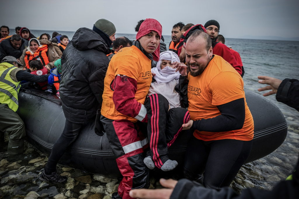 Feb. 24, 2016 - Lesbos, Greece - Migrants arrive in Mytilene, island of Lesbos, Greece. More than 110,000 migrants and refugees have crossed the Mediterranean to Greece and Italy so far this year, and 413 have lost their lives trying, the International Organization for Migration said.