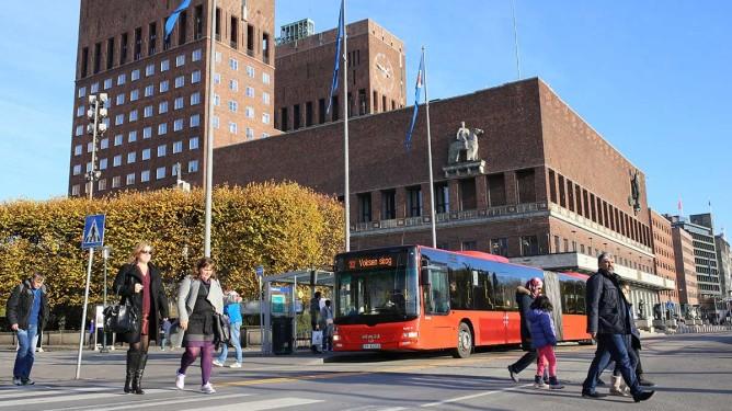 Buss rådhuset - illustrasjonsfoto