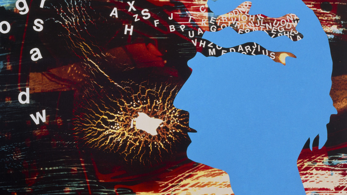 Alzheimer's disease. Abstract collage artwork depicting the effects on perception, speech and memory, in a patient suffering from Alzheimer's disease. Alzheimer's is a progressive nervous disease, the most common cause of senile dementia. It is rare before age 60; up to 30% of people over age 85 are affected. Breakdown and loss of nerve cells and tissue in the brain occurs. Symptoms of Alzheimer's disease fall into three broad stages: beginning with forgetfulness; this progresses to severe memory loss, disorientation, and inability to find the right words in speech; as anxiety increases, the personality changes from confusion to possible symptoms of psychosis and delusion.