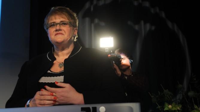 Trine Skei Grande  på Venstres landsmøte fredag. (Foto: Terje Pedersen, ANB) *** Local Caption *** Trine Skei Grande  på Venstres landsmøte fredag.Trine ag.