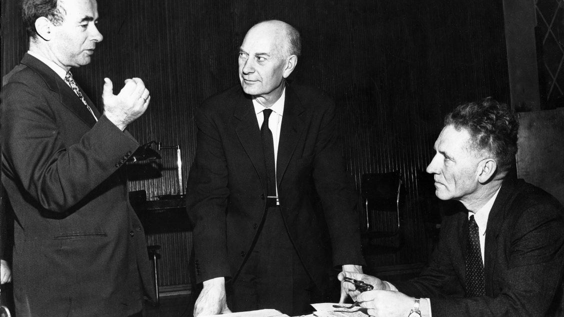 Trygve Bratteli, Einar Gerhardsen og Haakon Lie   1962  *** Local Caption *** Trygve Bratteli, Einar Gerhardsen og Haakon Lie i 1962.