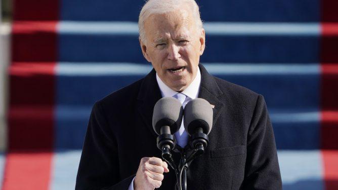 Joe Biden taler under innsettelsen 20. januar 2021