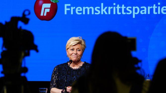 Oslo 20210218. Fremskrittspartiets leder Siv Jensen under en pressekonferanse etter dagens landsstyremøte. Foto: Lise Åserud / NTB