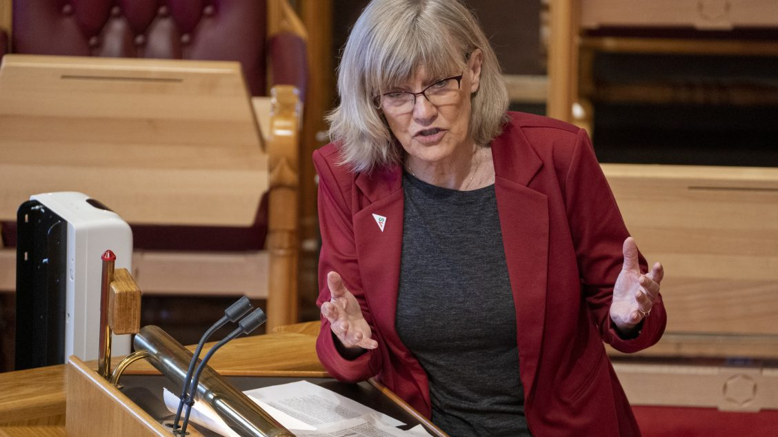 Oslo 20210210. Karin Andersen (SV) under muntlig spørretime på Stortinget. Foto: Terje Pedersen / NTB