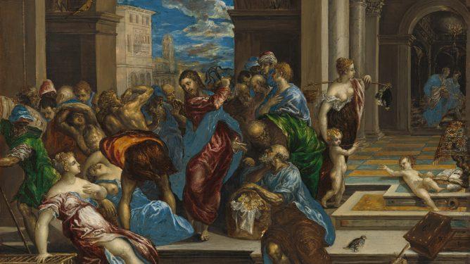 Jesus driver pengebytterne fra tempelet av El Greco